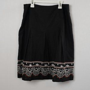 Ann Taylor Loft  Linen Skirt Black Embroidered